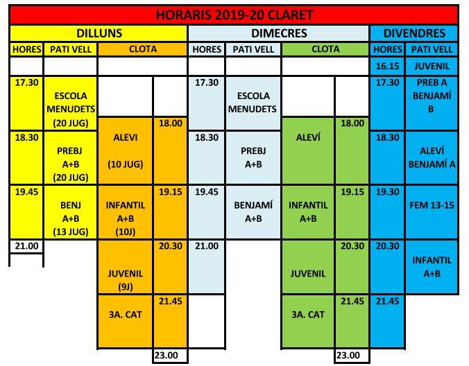 Horaris entrenaments 19-20