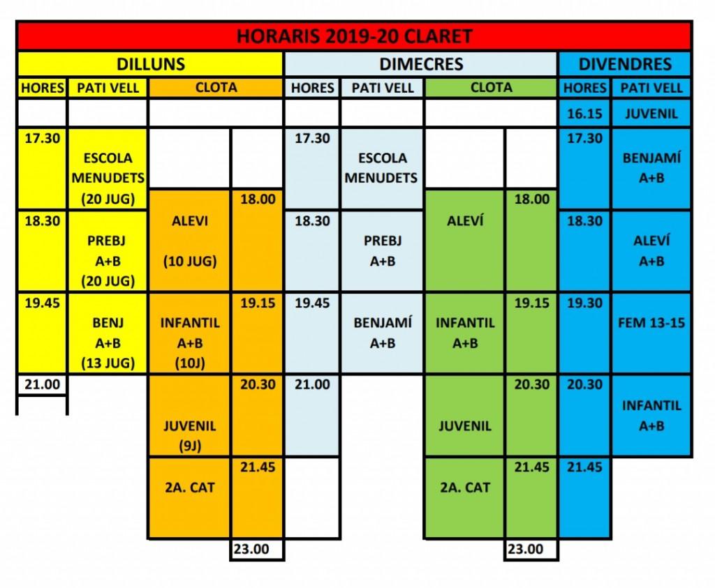 Horaris entreno 2019-2020