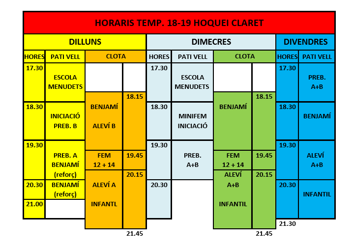Horaris entrenament 2018-19